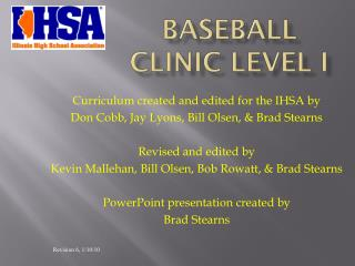 Baseball Clinic Level I