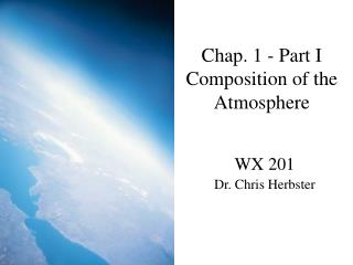 Chap. 1 - Part I Composition of the Atmosphere