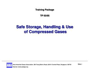 Training Package TP 03/05 Safe Storage, Handling & Use  of Compressed Gases