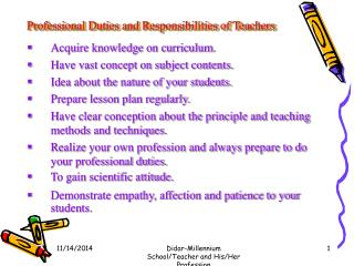 Professional Duties and Responsibilities of Teachers