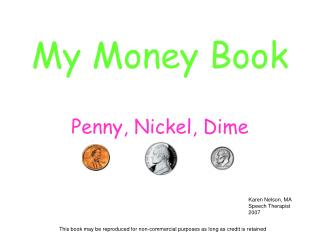 My Money Book Penny, Nickel, Dime