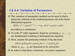 Ch 4.4: Variation of Parameters