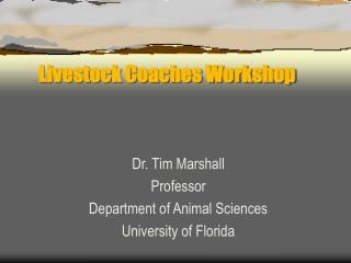 Livestock Coaches Workshop