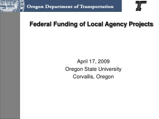Federal Funding of Local Agency Projects