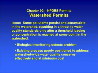 Chapter 92 – NPDES Permits Watershed Permits