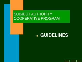 SUBJECT AUTHORITY COOPERATIVE PROGRAM
