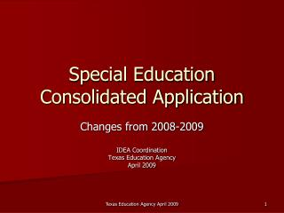 Special Education Consolidated Application
