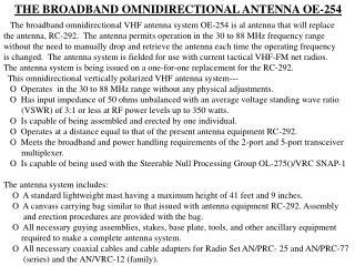 THE BROADBAND OMNIDIRECTIONAL ANTENNA OE-254
