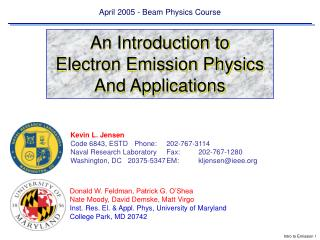 April 2005 - Beam Physics Course