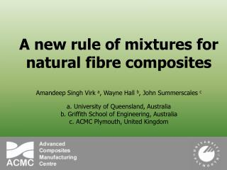 A new rule of mixtures for natural fibre composites