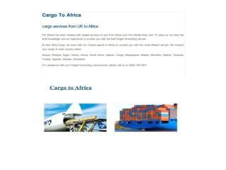 Cargo to Africa - Cargo Services from UK to Africa