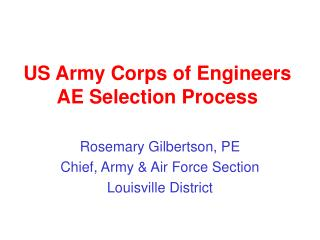US Army Corps of Engineers AE Selection Process