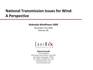 National Transmission Issues for Wind:   A Perspective