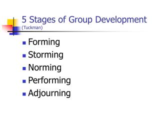 5 Stages of Group Development (Tuckman)