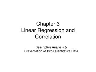 Chapter 3 Linear Regression and Correlation