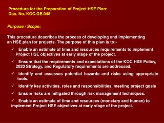 Procedure for the Preparation of Project HSE Plan:  Doc. No. KOC.GE.048