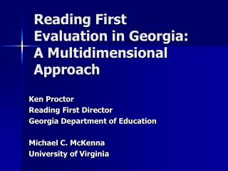 Reading First Evaluation in Georgia: A Multidimensional Approach