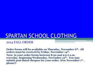 SPARTAN SCHOOL CLOTHING