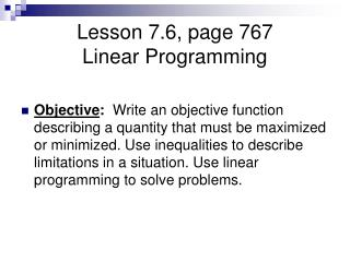 Lesson 7.6, page 767 Linear Programming