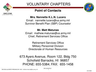 Point of Contacts Mrs. Nannette K.L.N. Lucero Email:  nannette.lucero@us.army.mil