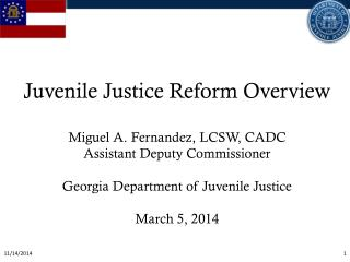 Juvenile Justice Reform Overview Miguel A. Fernandez, LCSW, CADC Assistant Deputy Commissioner