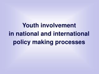 Youth involvement  in national and international policy making processes