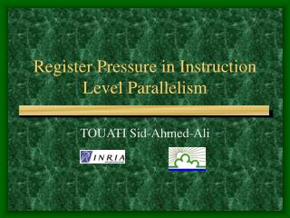 Register Pressure in Instruction Level Parallelism