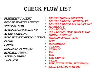 CHECK FLOW LIST