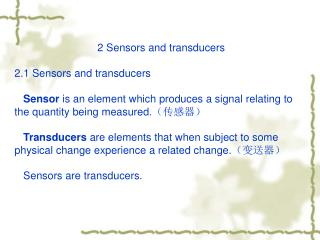 2 Sensors and transducers 2.1 Sensors and transducers