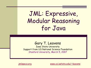 JML: Expressive, Modular Reasoning  for Java