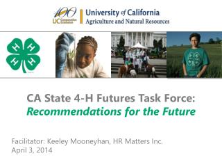 CA State 4-H Futures Task Force: Recommendations for the Future