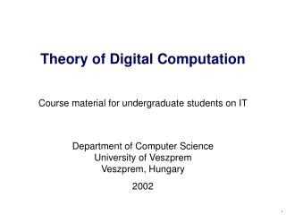 Theory of Digital Computation