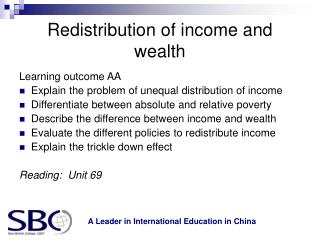 Redistribution of income and wealth