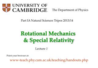 Rotational Mechanics  & Special Relativity