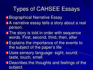Types of CAHSEE Essays