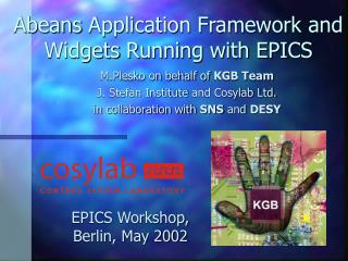 Abeans Application Framework and Widgets Running with EPICS