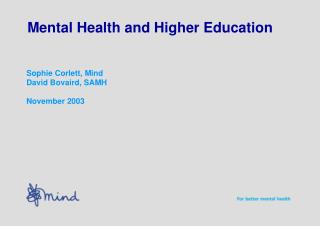 Mental Health and Higher Education