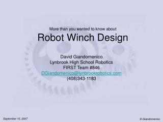 More than you wanted to know about Robot Winch Design