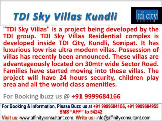 TDI new residential project Sky Villas Kundli @ 09999684166
