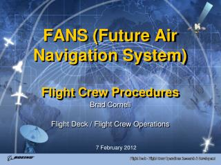 FANS (Future Air Navigation System) Flight Crew Procedures