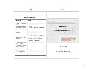FEA/FCA Quick Reference Guide