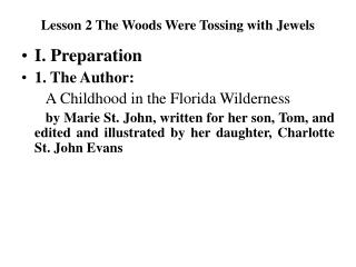 Lesson 2 The Woods Were Tossing with Jewels