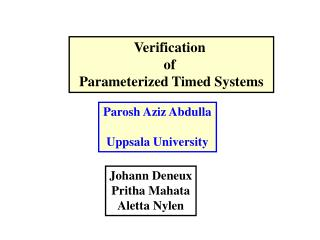 Verification  of  Parameterized Timed Systems