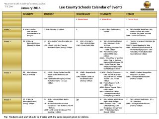Lee County Schools Calendar of Events