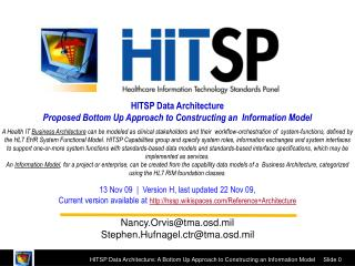 HITSP Data Architecture  Proposed Bottom Up Approach to Constructing an  Information Model