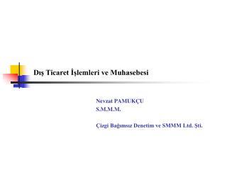 Nevzat PAMUKÇU S.M.M.M. Çizgi Bağımsız Denetim ve SMMM Ltd. Şti.