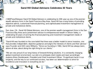 Sand Hill Global Advisors Celebrates 30 Years