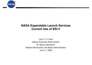 NASA Expendable Launch Services Current Use of EELV
