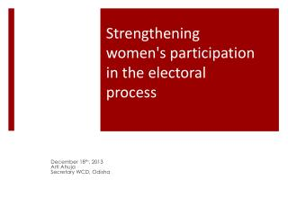 Strengthening women's participation in the electoral process