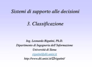 Sistemi di supporto alle decisioni 3. Classificazione